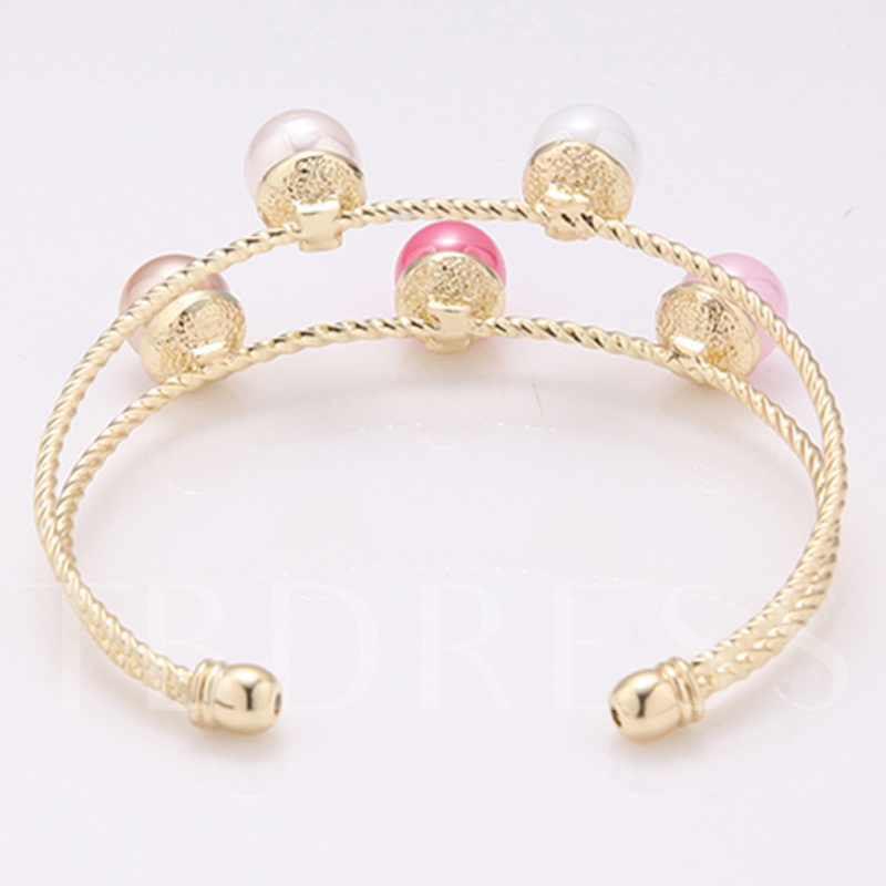 Colorful Pearls Inlaid Alloy Opening Bracelet