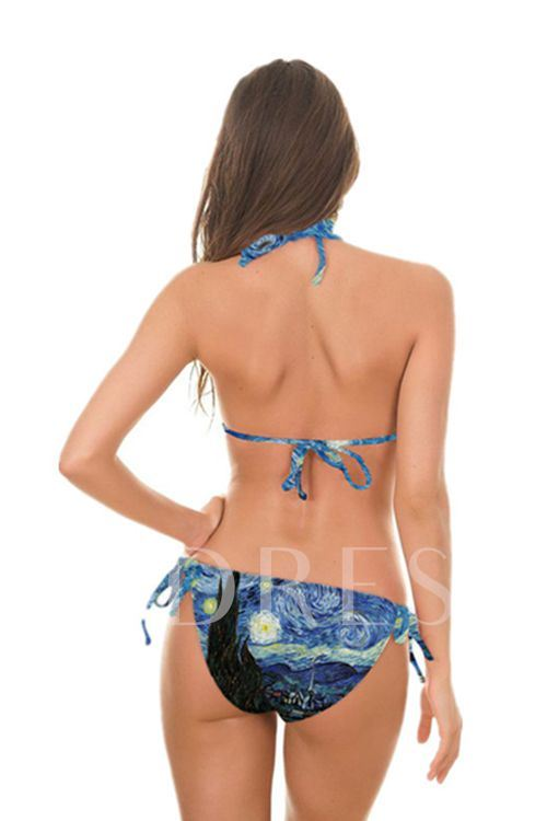 Floral Picture Printed Halter Lace-Up Women's Bikini