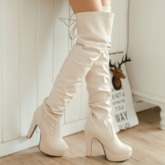 Round Toe Lace-Up Back Plain Short Floss Women's Knee High Boots