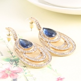 Sapphire Inlaid Oval Earrings