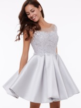 Cap Sleeves A-Line Scoop Appliques Lace Short Homecoming Dress