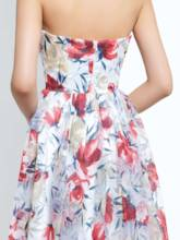 A-Line Sweetheart Printed Ruched Long Prom Dress