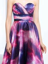 A-Line Sweetheart Printed Ruched Floor-Length Prom Dress