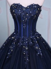 Appliques Sweetheart Beading Court Train Quinceanera Dress