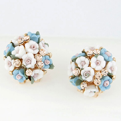 Sweet Ceramic Flowers Stud Earrings