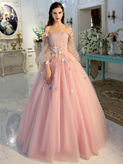 Off-the-Shoulder Ball Gown Long Sleeves Beading Pleats Quinceanera Dress