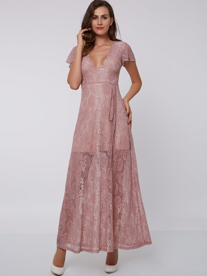 A-Line V-Neck Short Sleeves Sashes Ankle-Length Evening Dress