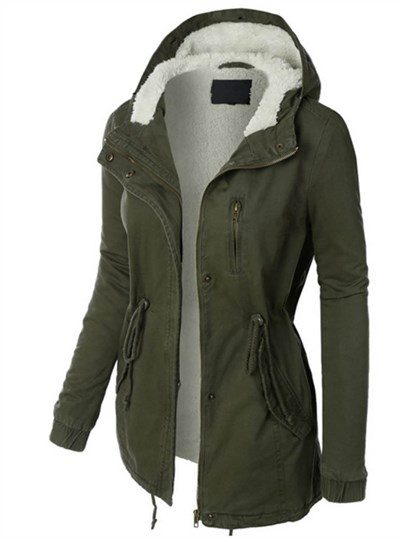 Hidden Button Zipper Pocket Hooded Women's Jacket