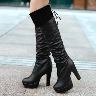 Round Toe Lace-Up Back Plain Short Floss Women's Boots
