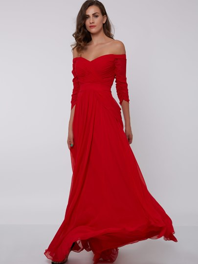 A-Line Off-the-Shoulder Pleats Ruched Evening Dress