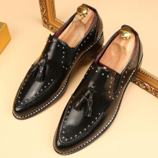Tassel Pointed Toe Square Low Heel Low-Cut Upper Men's Oxfords