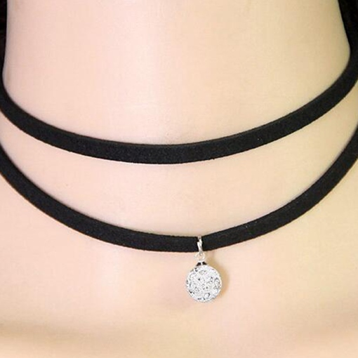Black Rope Spherical Pendant Necklace