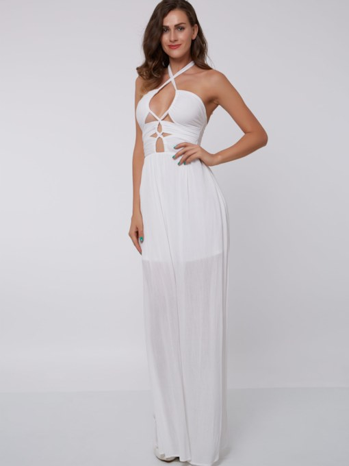 Hollow A-Line Halter Floor-Length Evening Dress