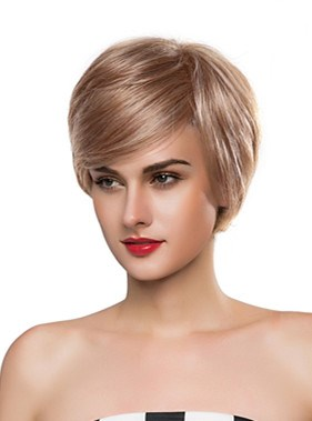 Elegant Short Straight Capless Human Hair Wig 10 Inches