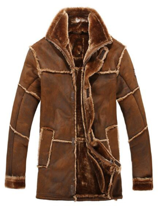 Shearling Stitch-Work with Long Pattern Men's Coat