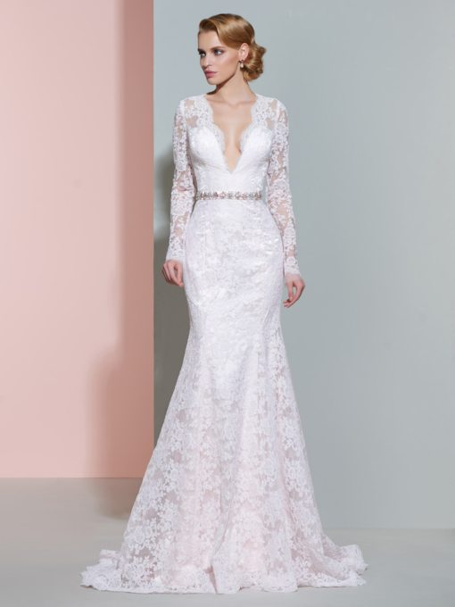 Deep V-Neck Lace Long Sleeves Mermaid Wedding Dress
