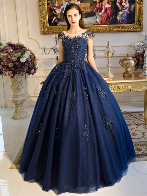Beading Scoop Ball Gown Pearls Appliques Quinceanera Dress