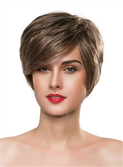 Short Straight Capless Blonde Human Hair Wig 10 Inches