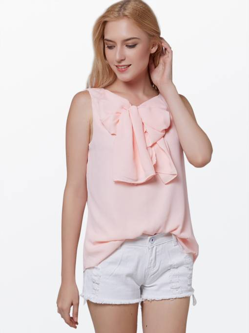 Pink Sleeveless Chiffon Women's Blouse
