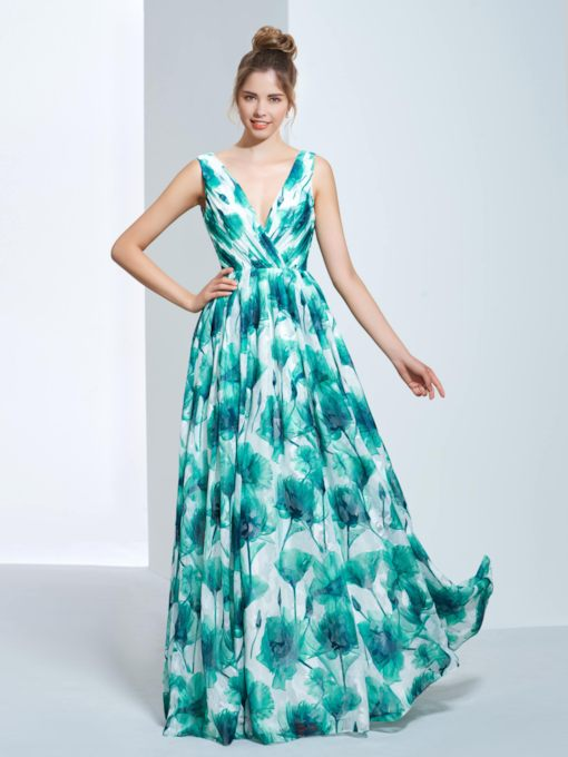 A-Line V-Neck Pleats Print Prom Dress