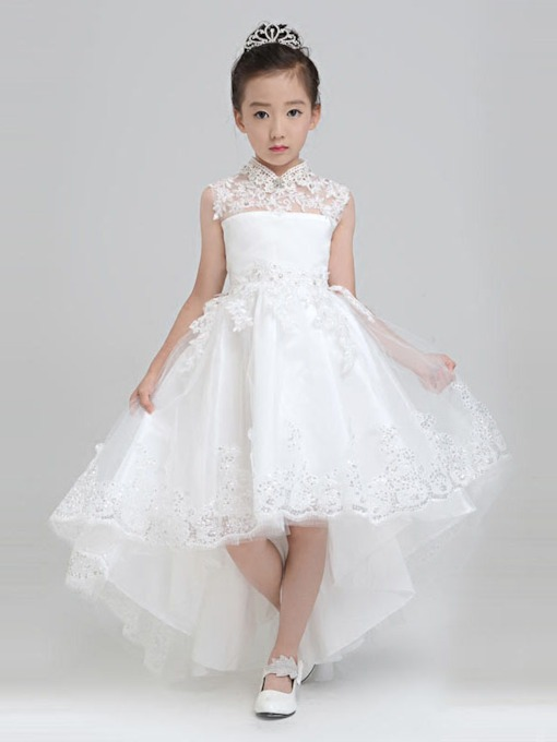 Vintage High Neck Appliques Asymmetry Flower Girl Dress