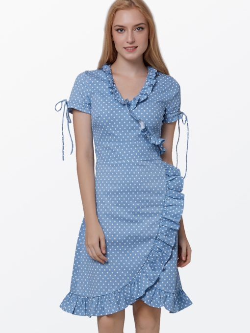 Light Blue Polka Dots Falbala Women's Day Dress (Plus Size Available)
