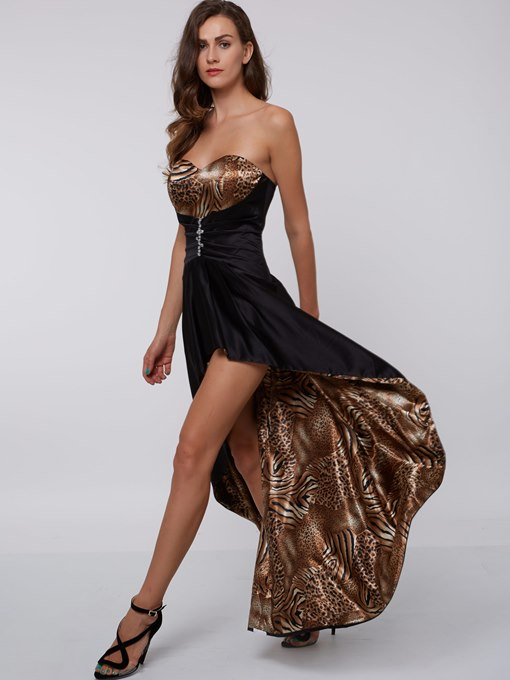 A-Line Sweetheart Beading Printed Ruched Cocktail Dress