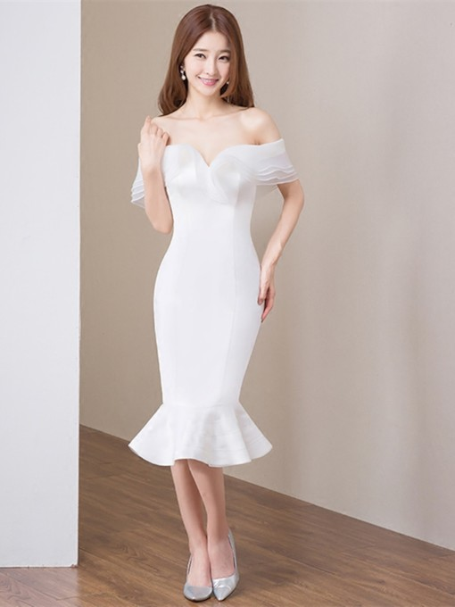 Mermaid Off-the-Shoulder Pick-Ups Tea-Length Cocktail Dress