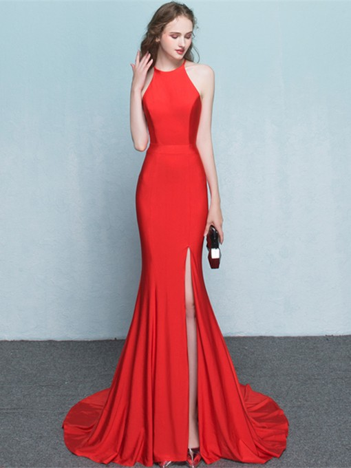 Sheath Zipper-Up Jewel Split-Front Court Train Evening Dress
