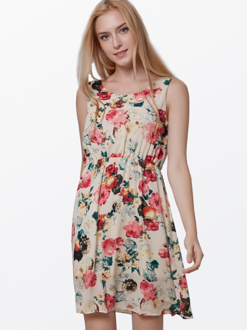 Sleeveless Floral Chiffon Women's Day Dress