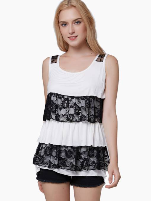Lace Patchwork Slim Women's Tank Top