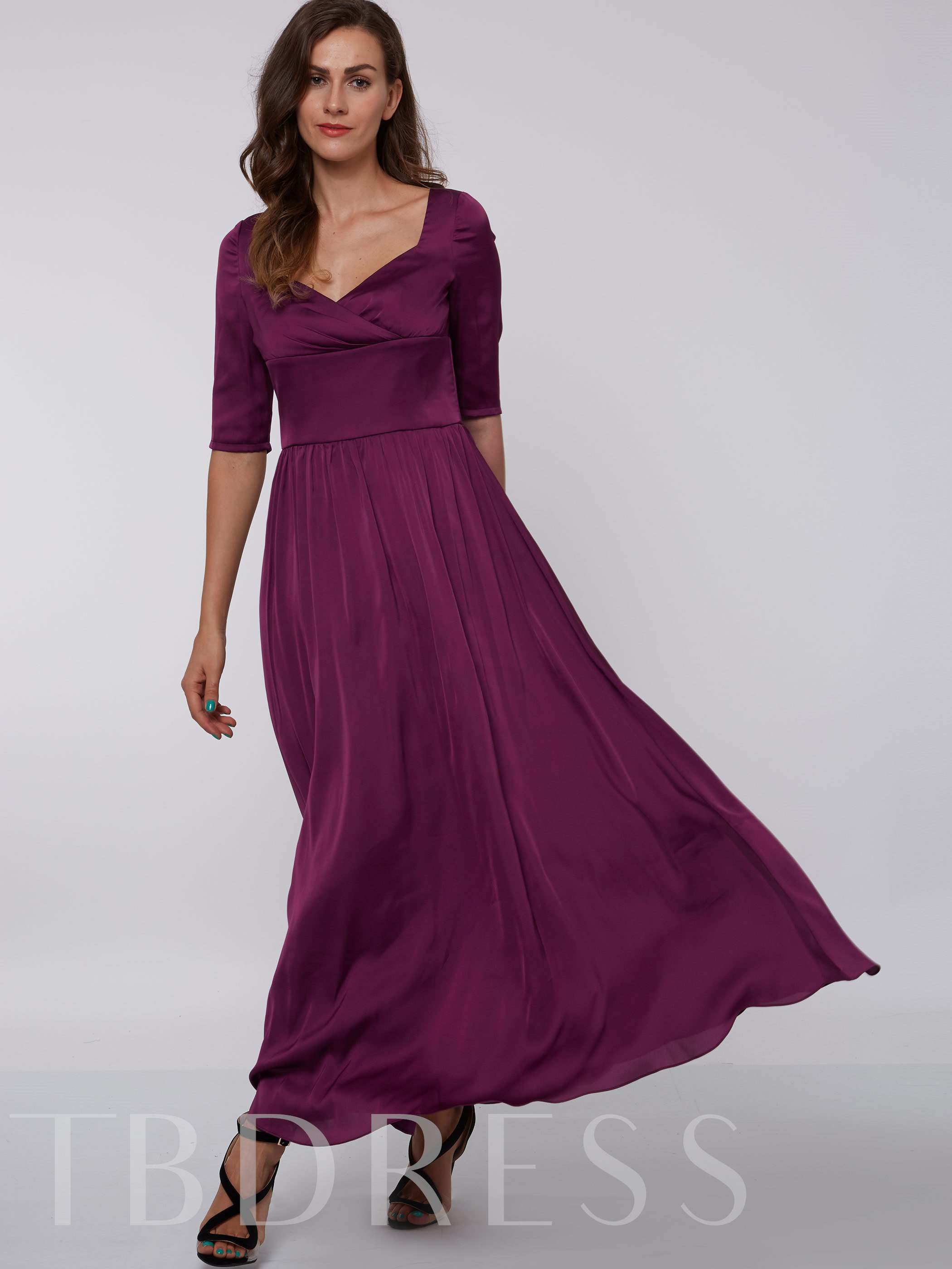 Image of A-Line Half Sleeves Square Draped Evening Dress