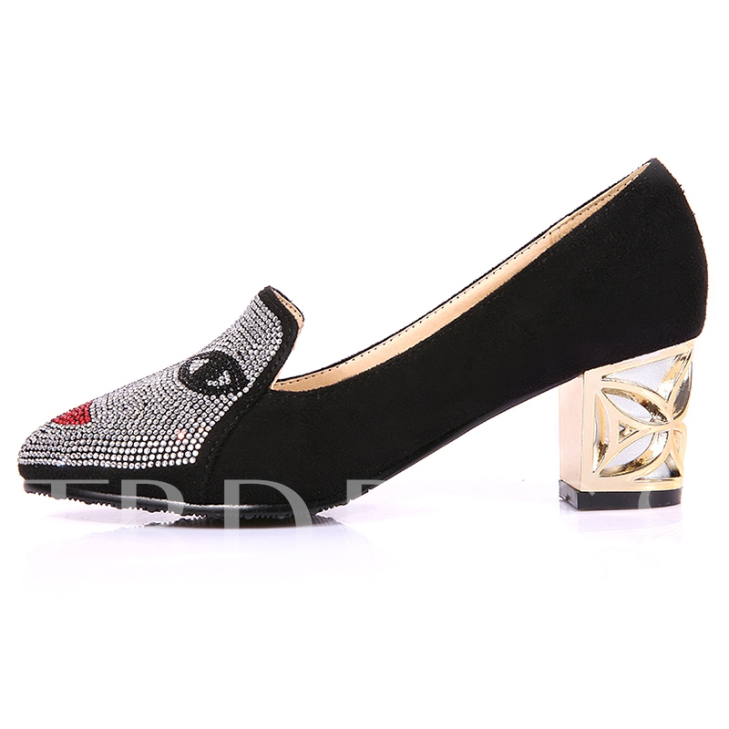 Buy Slip-On Rhinestone Pointed Toe Chunky Heel Women's Pumps, Spring,Summer,Fall, 12397290 for $40.99 in TBDress store