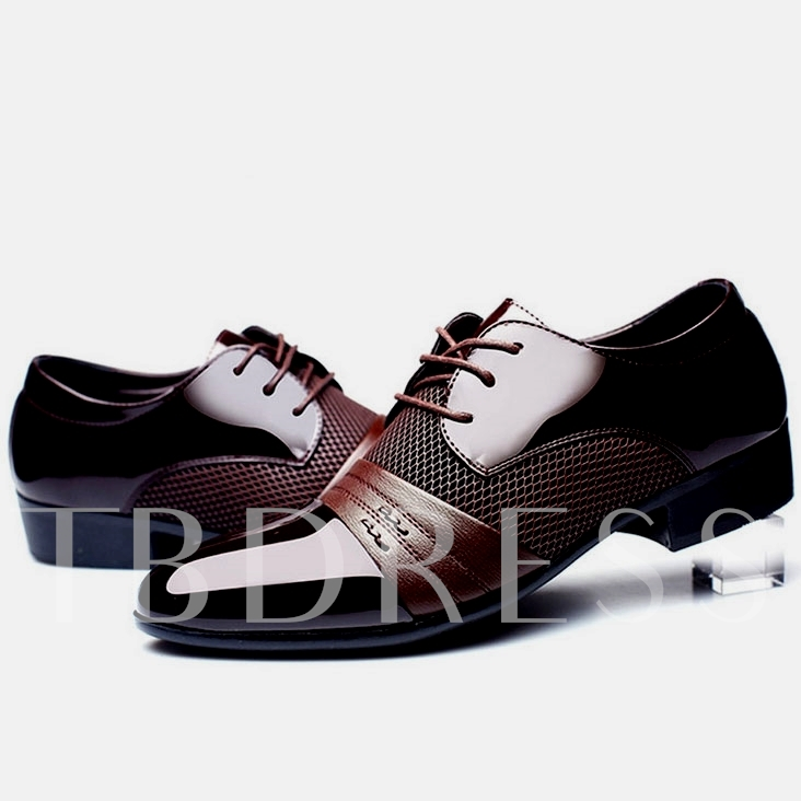 Pointed Toe Square Low Heel Cross Strap Patchwork Men's Oxfords