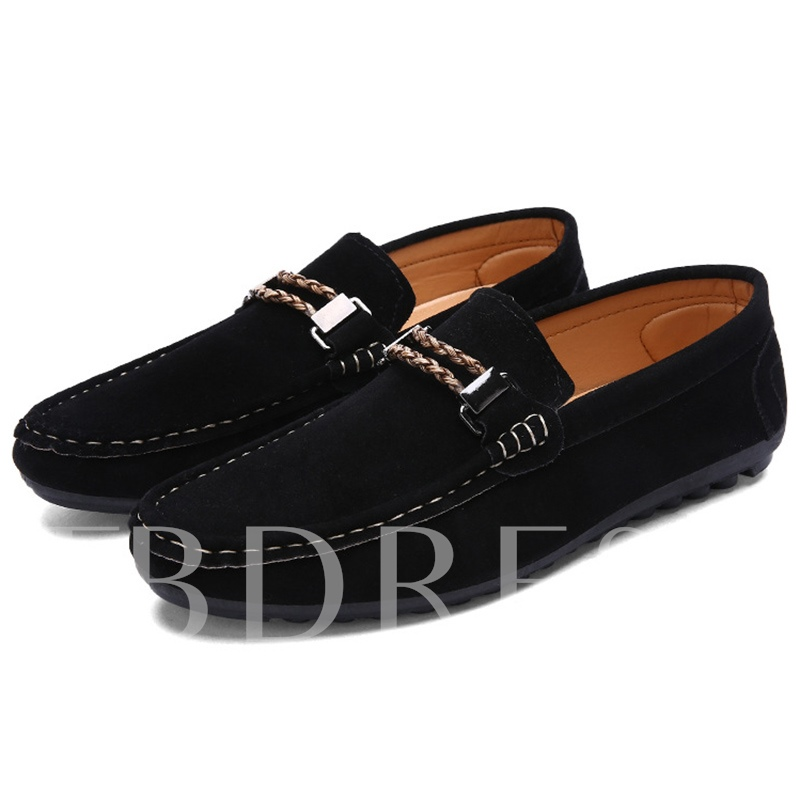 Square Toe Flat Heel Low-Cut Upper Stripe Men's Loafers