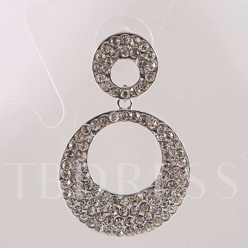 Double Hollow Round Rhinestone Earrings