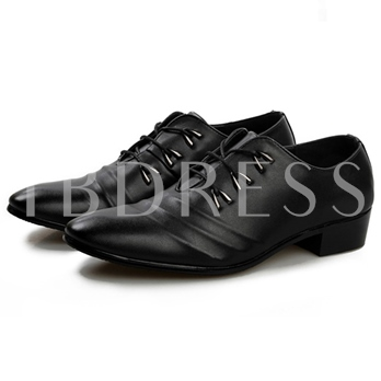Square Low Heel Cross Strap Pointed Toe Men's Oxfords