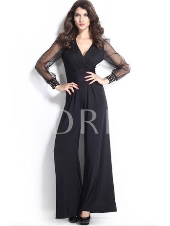 V-neck Long Sleeve Perspective Women's Jumpsuits