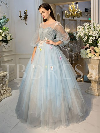 Scoop Ball Gown Long Sleeves Pearls Pleats Court Train Quinceanera Dress