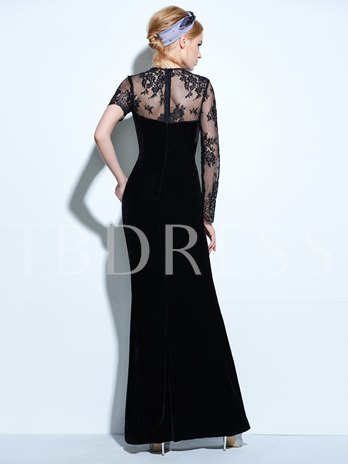 Velvet Jewel Sheath Lace Floor-Length Evening Dress