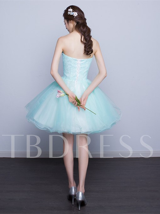 A-Line Strapless Beading Lace Pearls Short Homecoming Dress