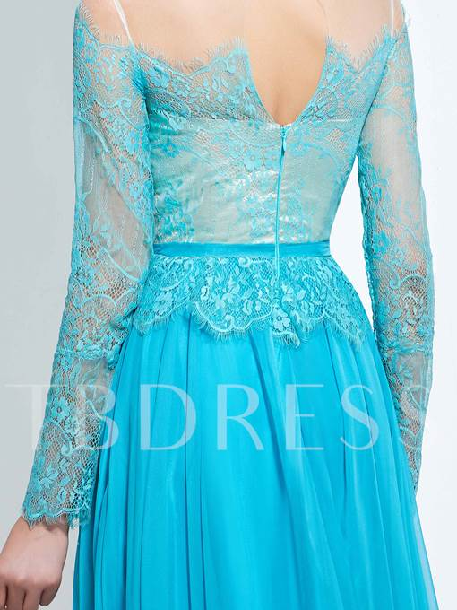 Long Sleeves A-Line Off-the-Shoulder Lace Floor-Length Prom Dress