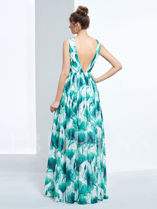 A-Line V-Neck Pick-Ups Printed Long Prom Dress