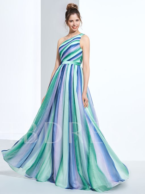 A-Line One-Shoulder Pleats Printed Long Prom Dress