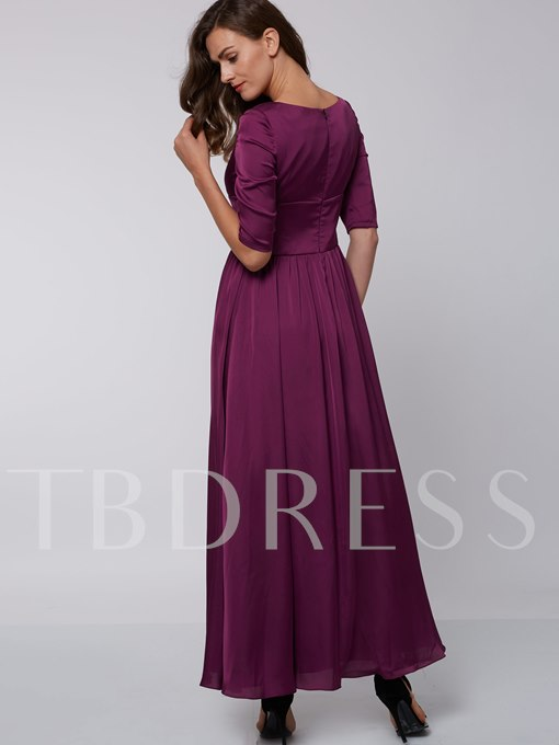 A-Line Half Sleeves Square Draped Evening Dress