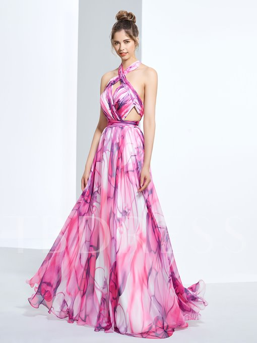 A-Line Halter Hollow Pleats Printed Floor-Length Prom Dress