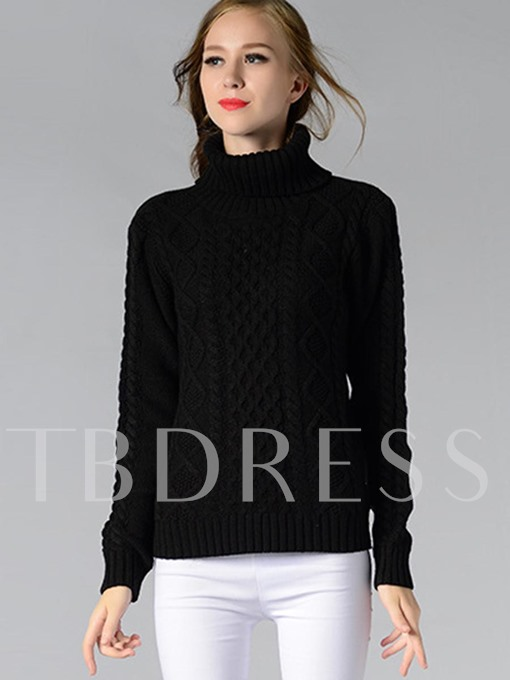 Solid Color Long Sleeve Heap Collar Women's Sweater