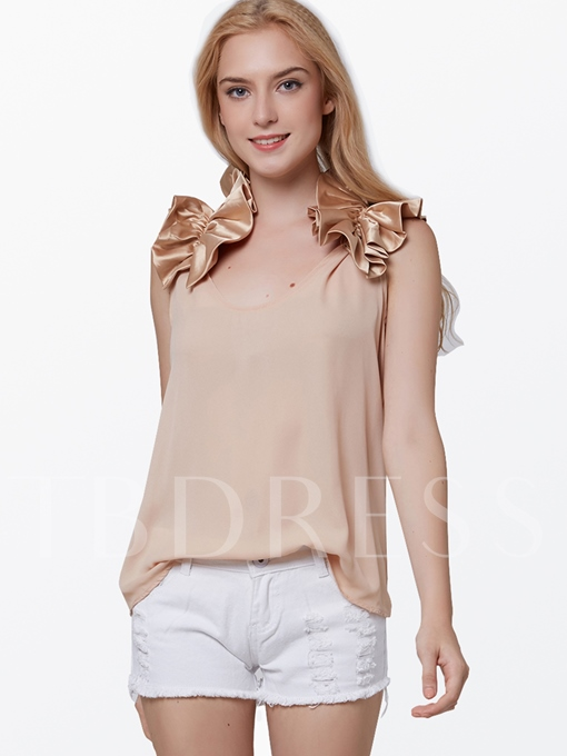 Solid Color Sleeveless Women's Blouse