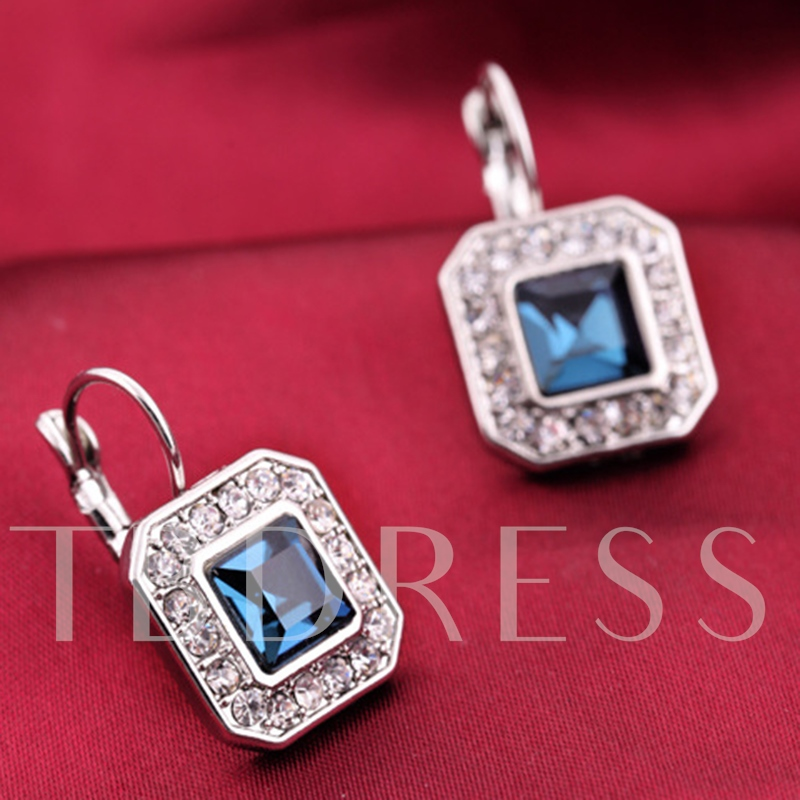 Square Sapphire Earrings