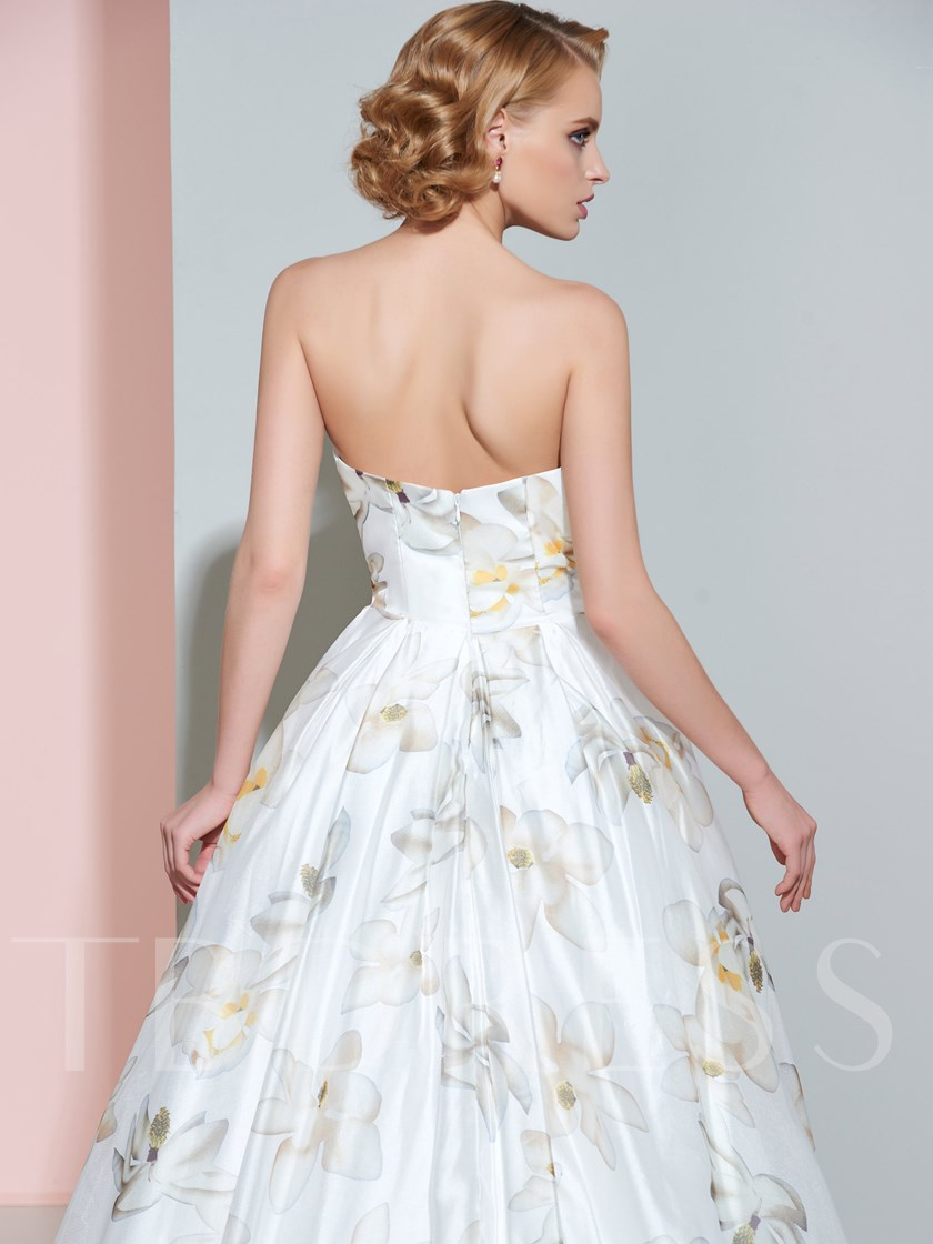 Sweetheart Ball Gown Court Train Floor-Length Printing Wedding Dress